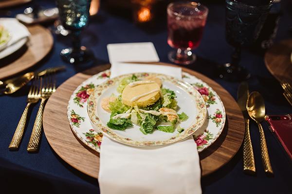 Southern Caesar Salad served on floral patterned china