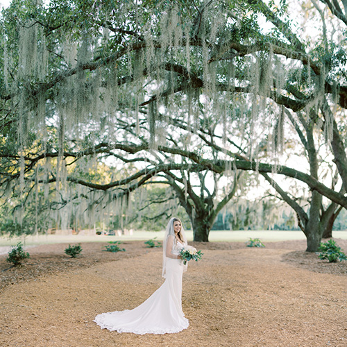 bride stands holding a bouquet under graceful, towering live oak trees at Hewitt Oaks in Bluffton, SC